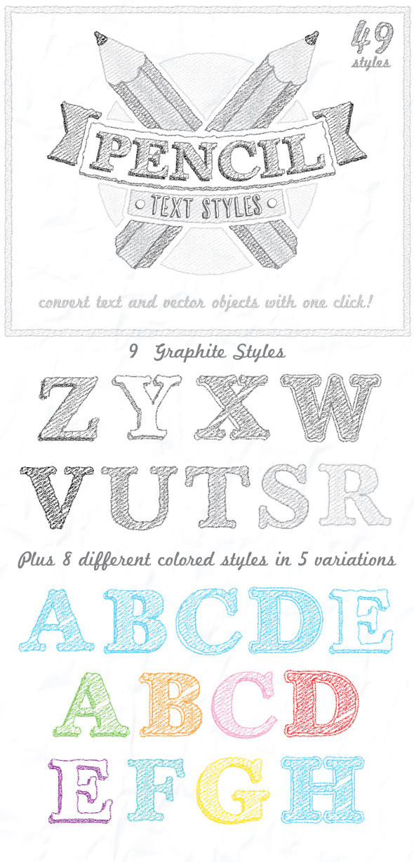 Pencil Text Styles - Styles Illustrator