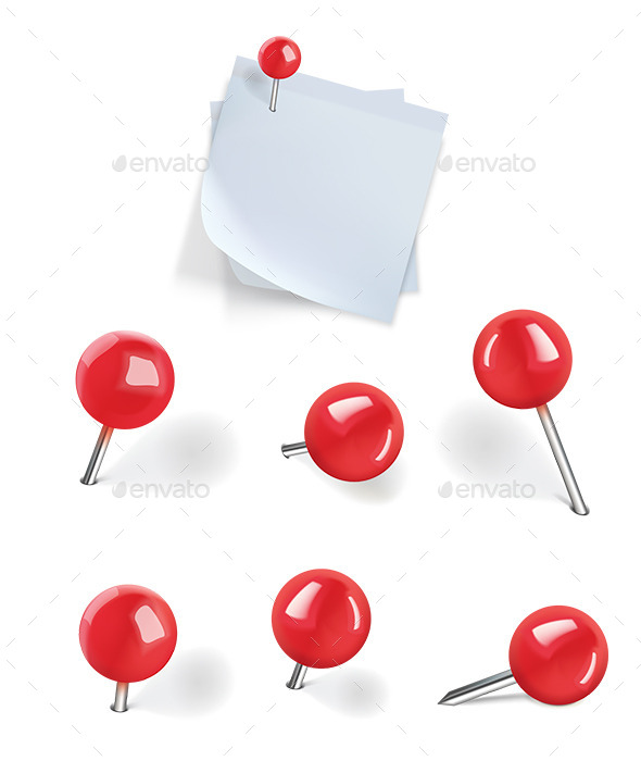 Set of Red Pushpins - Man-made Objects Objects