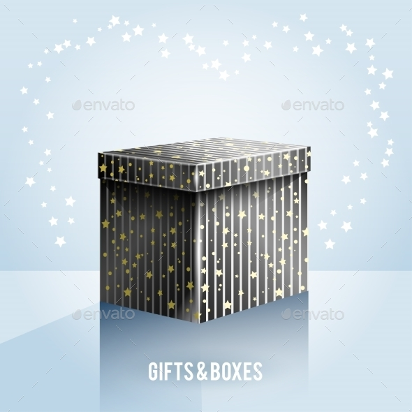 Black Box on Light Blue Background - Christmas Seasons/Holidays