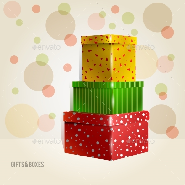 Three Yellow, Green, Red, Purple with Circles - Christmas Seasons/Holidays