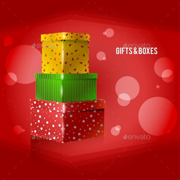 Three Yellow, Green, Red, Purple on Red Background - Christmas Seasons/Holidays