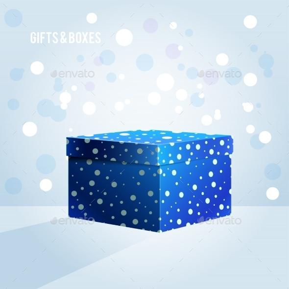 Blue Box on Light Blue Background - Christmas Seasons/Holidays