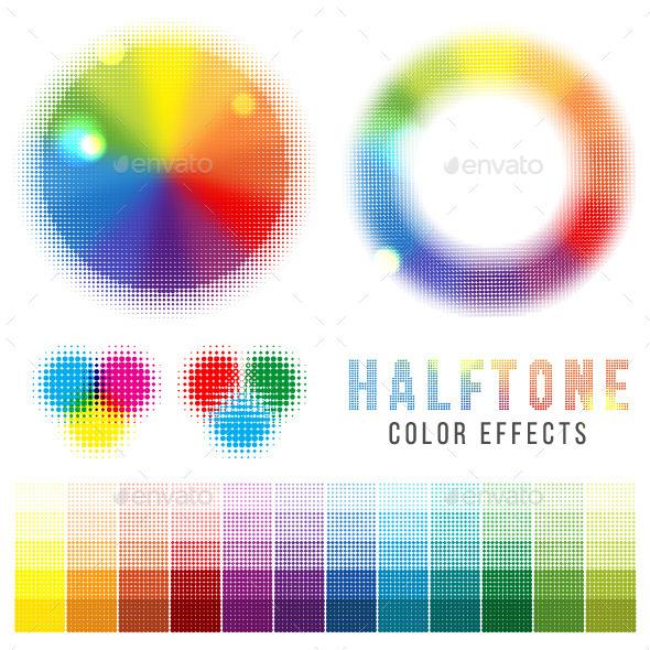 Color Halftone Effects - Decorative Symbols Decorative