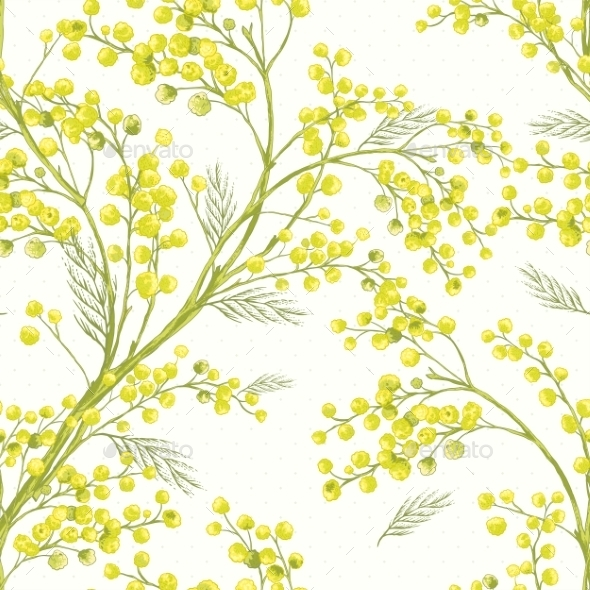 Seamless Spring Pattern with Sprig of Mimosa - Patterns Decorative