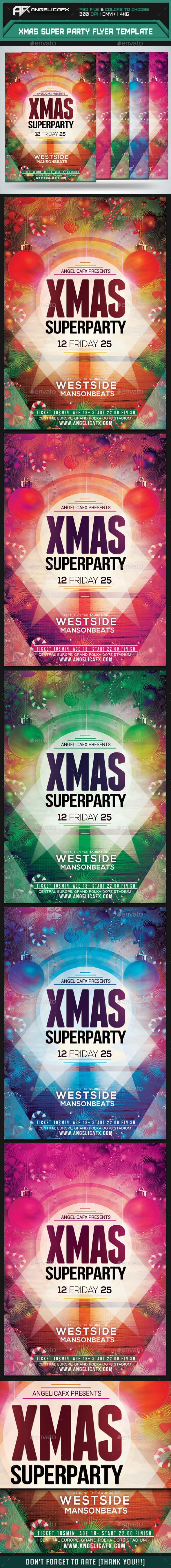 Xmas Super Party Flyer Template - Flyers Print Templates