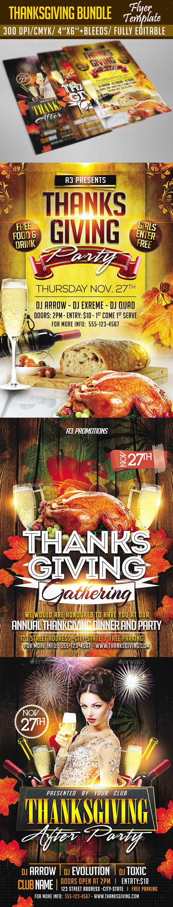 Thanksgiving Flyer Bundle - Clubs & Parties Events
