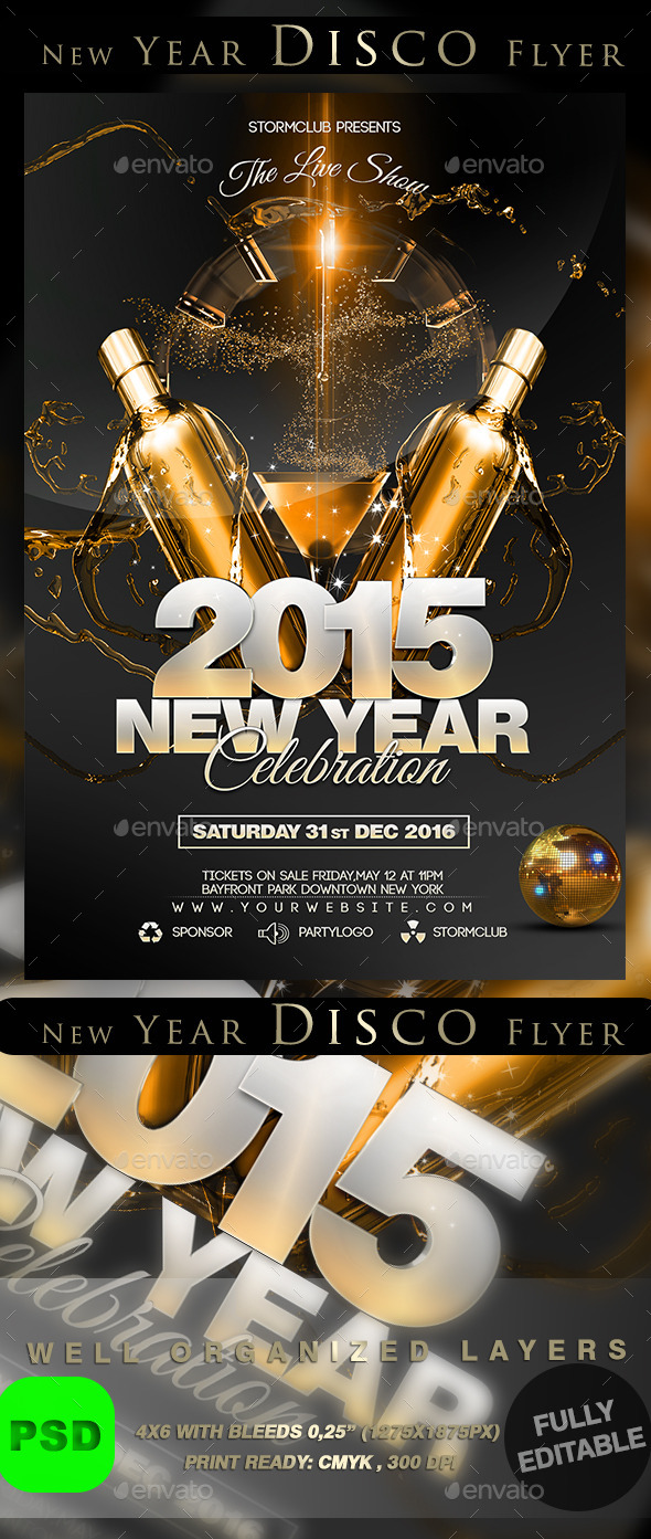New Year Disco Flyer - Events Flyers
