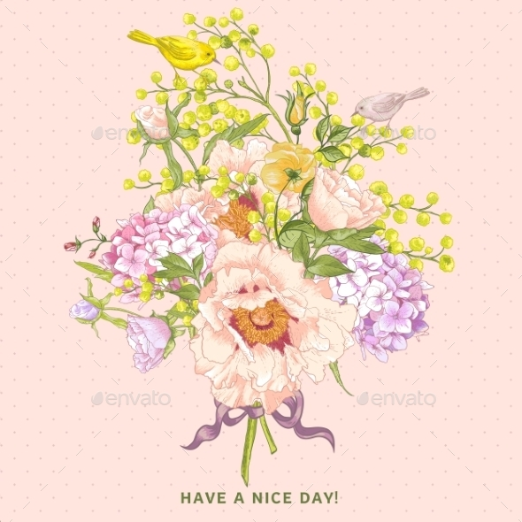 Spring Floral Bouquet with Birds, Greeting Card - Patterns Decorative