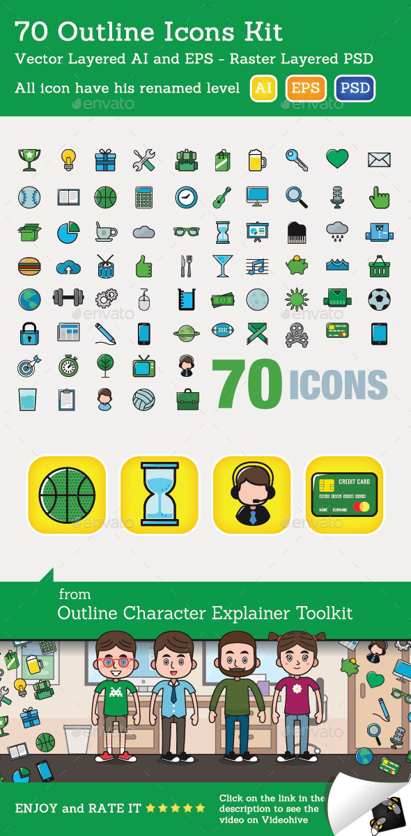 70 Outline Icons Kit - Miscellaneous Characters