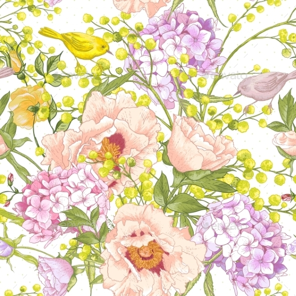 Gentle Spring Floral Seamless Background - Patterns Decorative