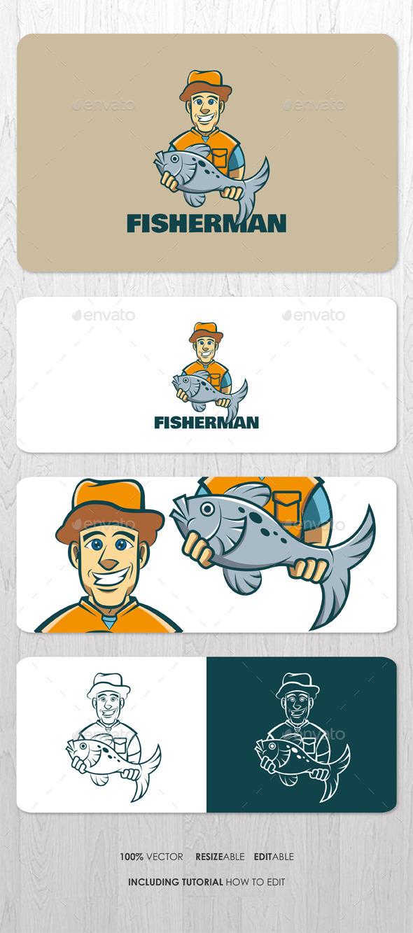 Fisherman Mascot Logo - Humans Logo Templates