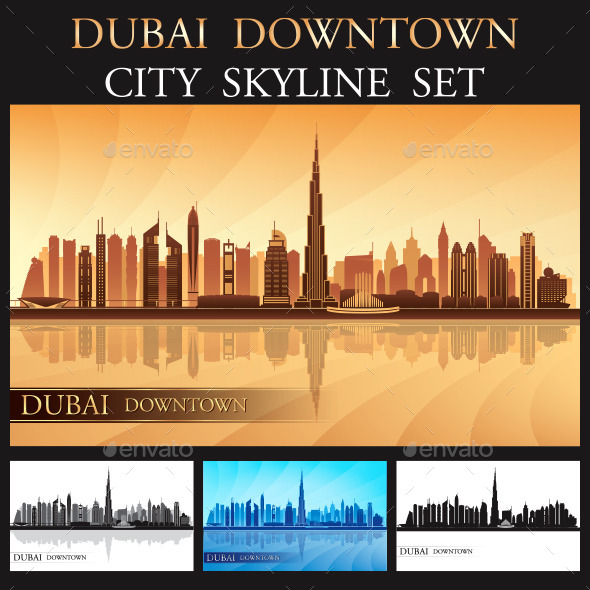 Dubai Downtown Skyline Silhouettes Set - Buildings Objects