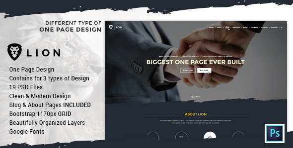 Lion – Multipurpose One Page PSD Template