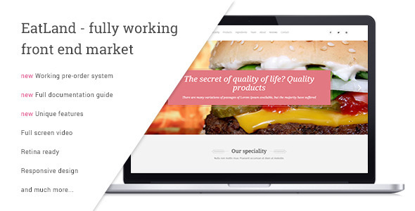 EatLand – eCommerce and Delivery Landing Page