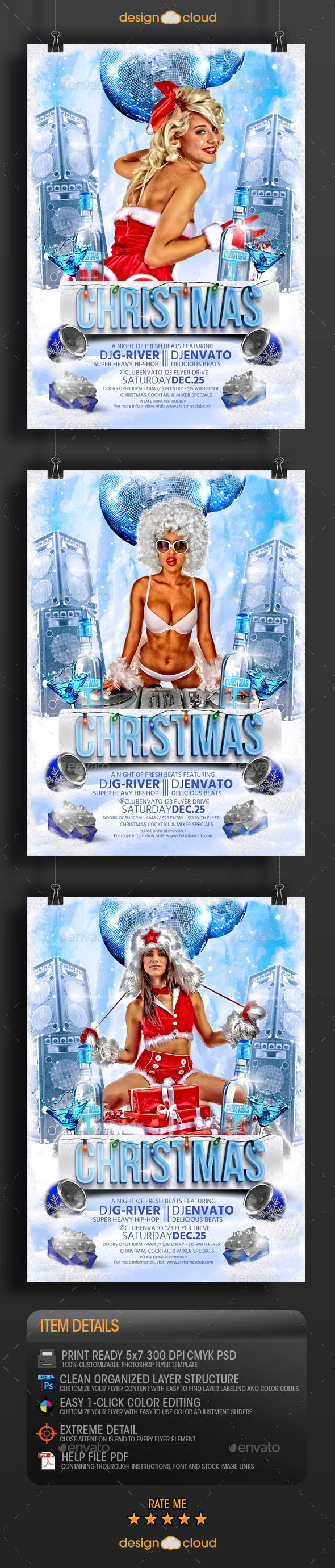 White Christmas Party Flyer Template - Holidays Events