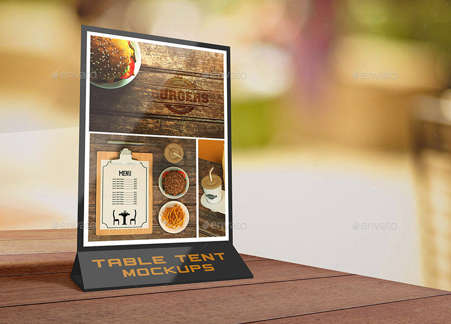 Table Tent MockUps By Lesago GraphicRiver - Bar table tents