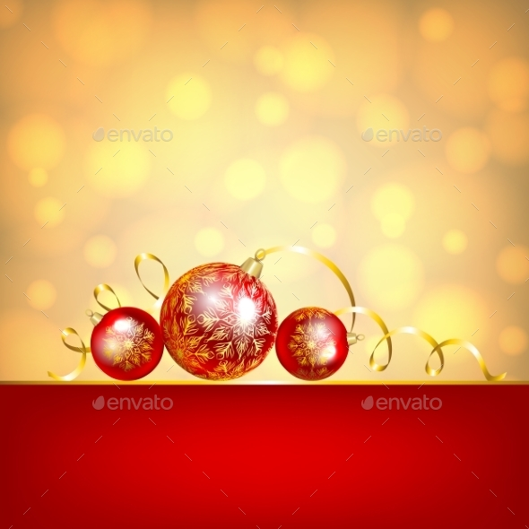 Red Baubles on Golden Background - Christmas Seasons/Holidays