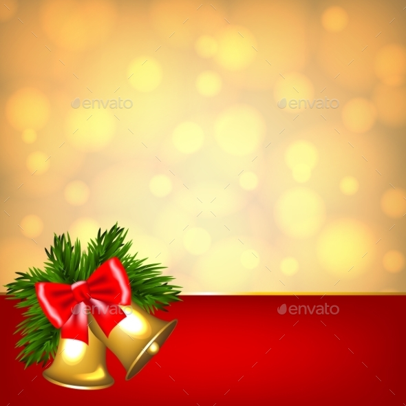 Bells on Golden Background - Christmas Seasons/Holidays