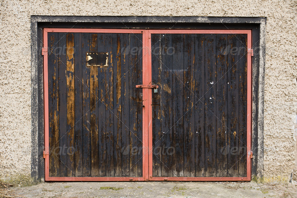 Old garage door - Stock Photo - Images