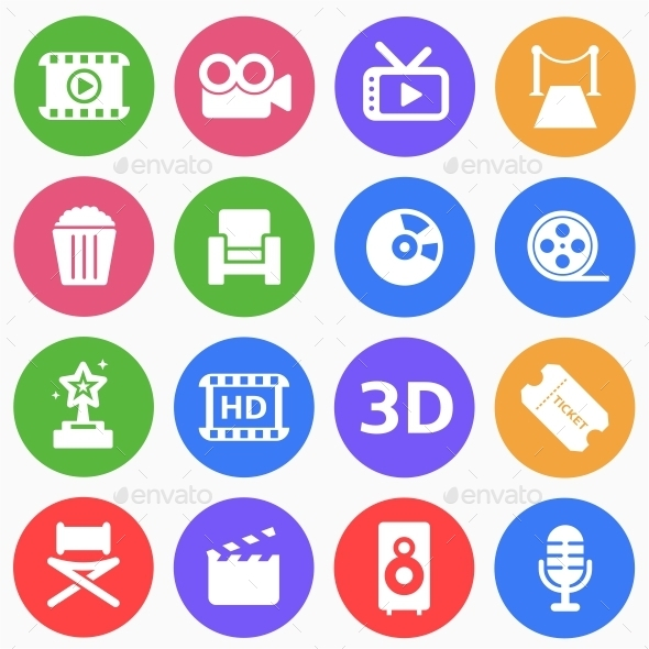 Cinema and Movie Flat Icons - Miscellaneous Icons