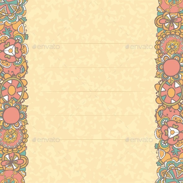 Greeting Card with Flowers - Borders Decorative