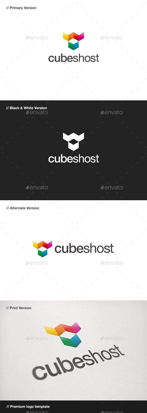 Cubes Host Logo - Objects Logo Templates