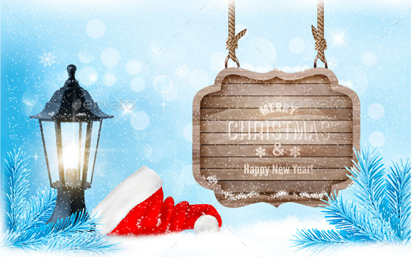 Winter Christmas with a Sign Lantern and Hat - Christmas Seasons/Holidays