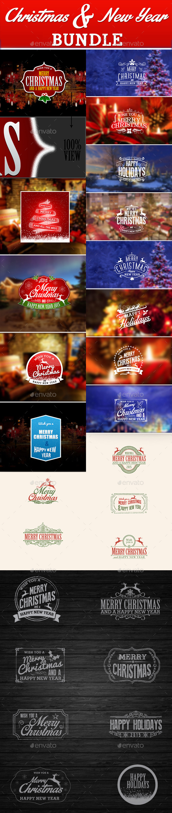 Christmas and New Year Bundle - Badges & Stickers Web Elements