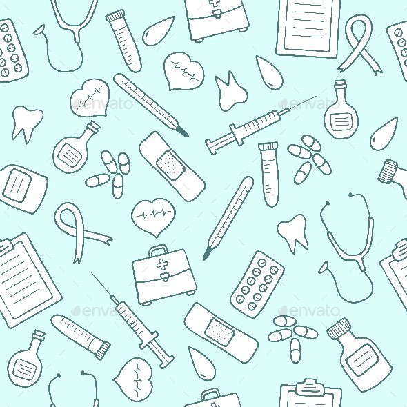 Doodle Medical Seamless Pattern.  - Health/Medicine Conceptual