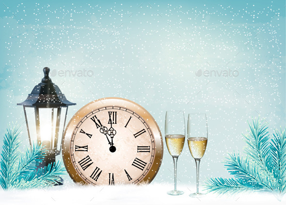 Holiday Retro Background with Champagne Glasses  - New Year Seasons/Holidays