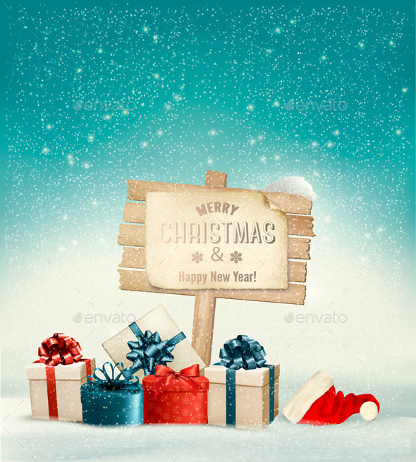 Winter Christmas with a Sign Gift Boxes - Christmas Seasons/Holidays
