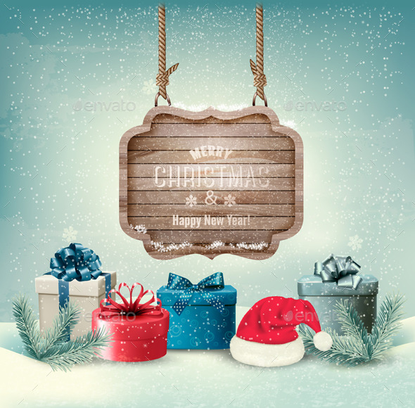Winter Background with Gift Boxes - Christmas Seasons/Holidays