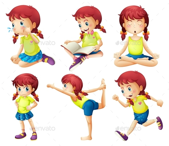 Girl doing Different Activities  - People Characters