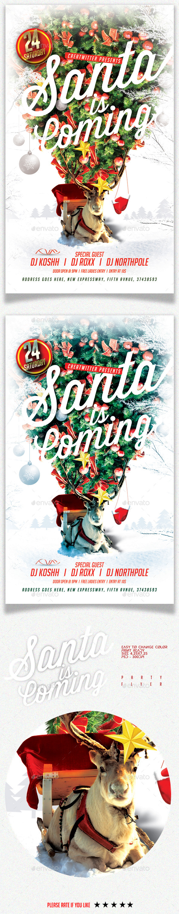 Santa Is Coming Party Flyer - Holidays Events