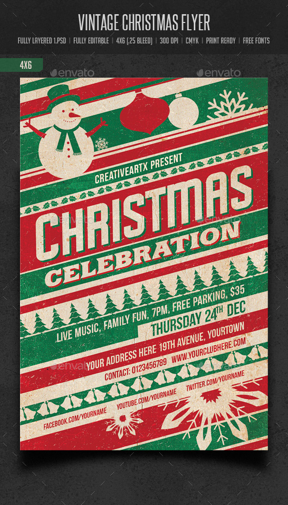 Vintage Christmas Flyer - Events Flyers
