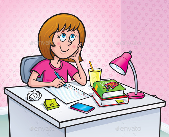 Girl Working On A Homework Assignment - People Characters