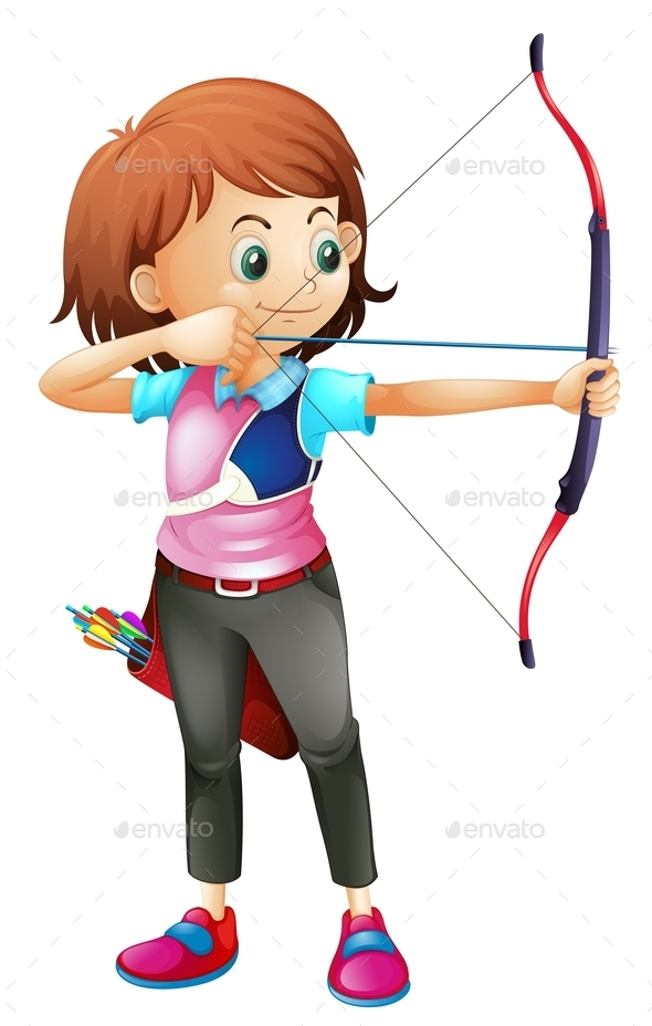Girl Playing Archery - People Characters