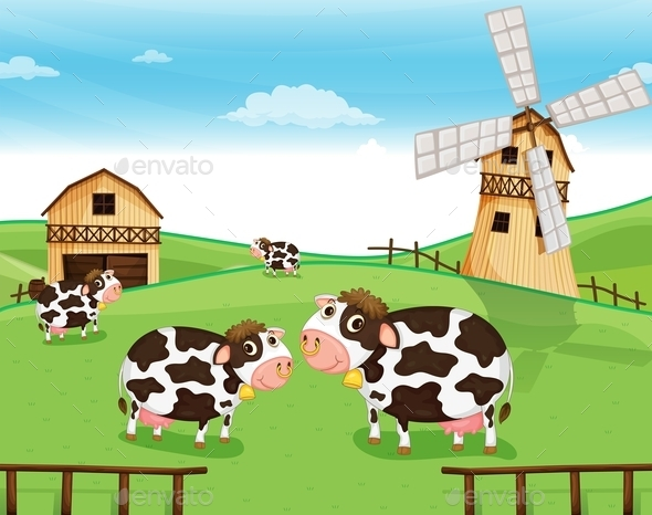 Goats at the Farm with a Windmill - Animals Characters