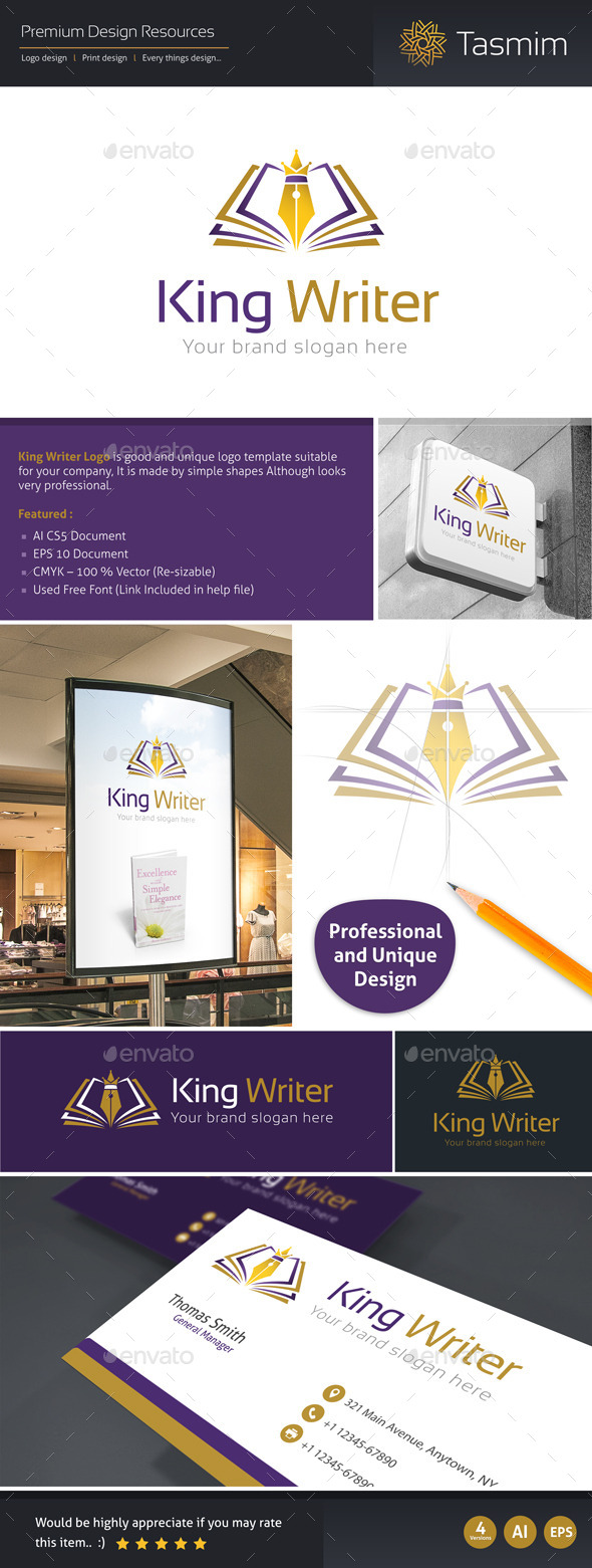 King Writer Logo Template - Objects Logo Templates