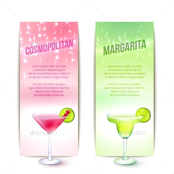 Cocktails Banner Set - Food Objects