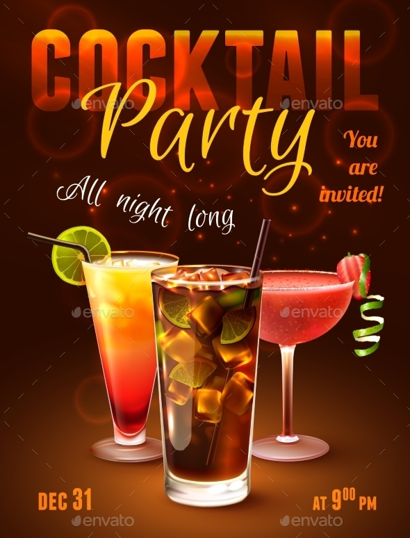 Cocktail Party Poster - Backgrounds Decorative