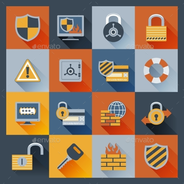 Security Icons Set Flat - Web Elements Vectors