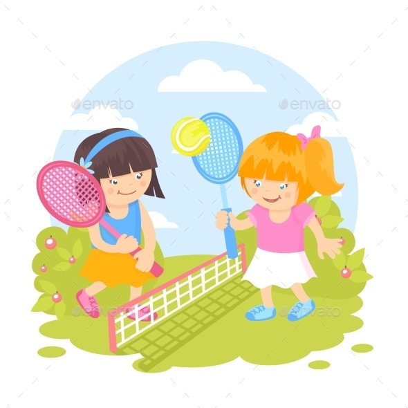 Girls playing Tennis - People Characters
