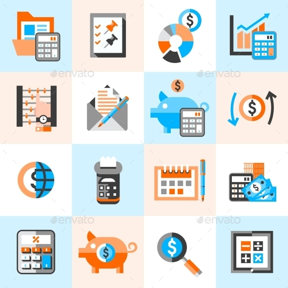Accounting Icons Set - Business Conceptual