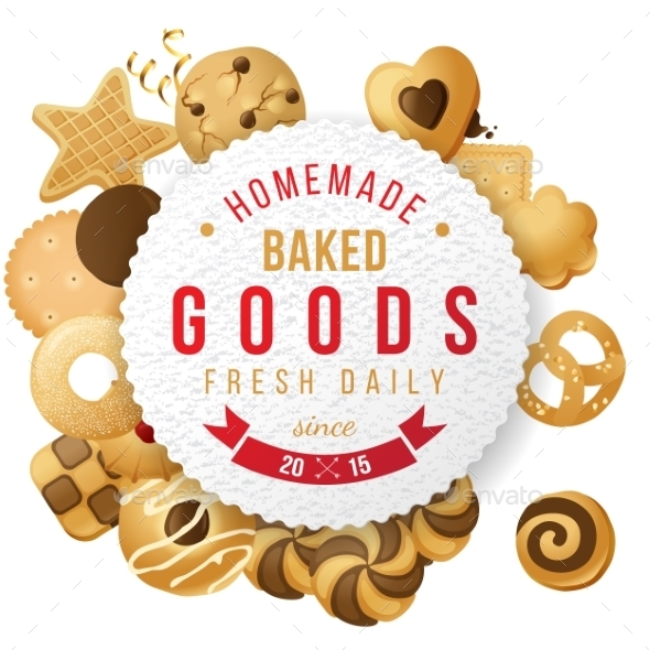 Baked Goods Label with Type Design - Food Objects