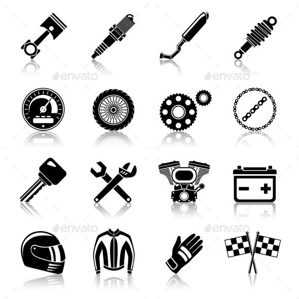 Motorcycle Parts Black Set - Technology Conceptual