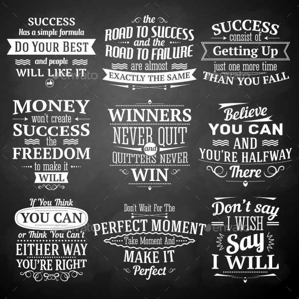 Success Quotes Chalkboard Set - Miscellaneous Vectors