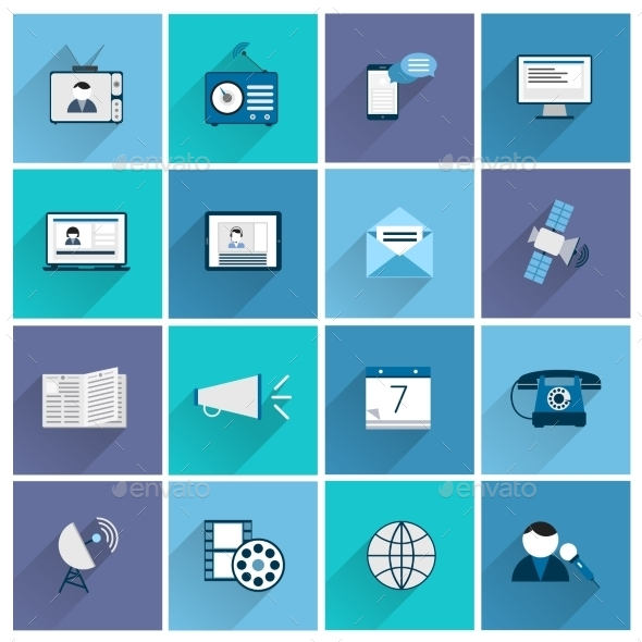 Media Icons Flat Set - Web Elements Vectors