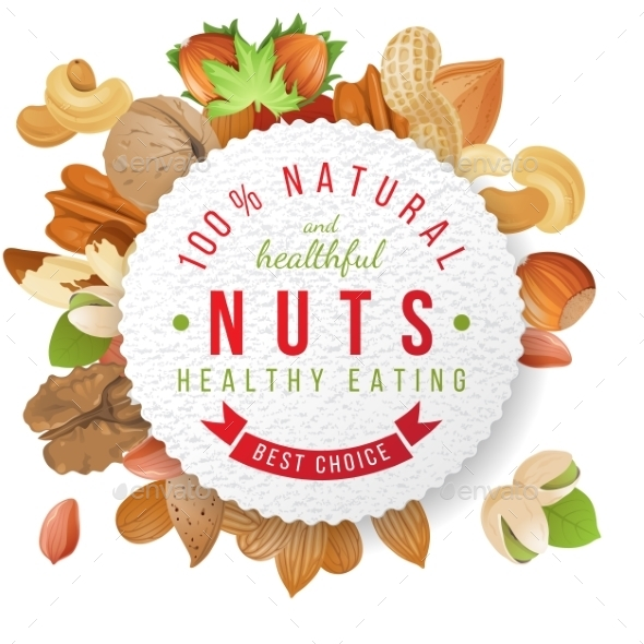 Nuts Label with Type Design - Food Objects