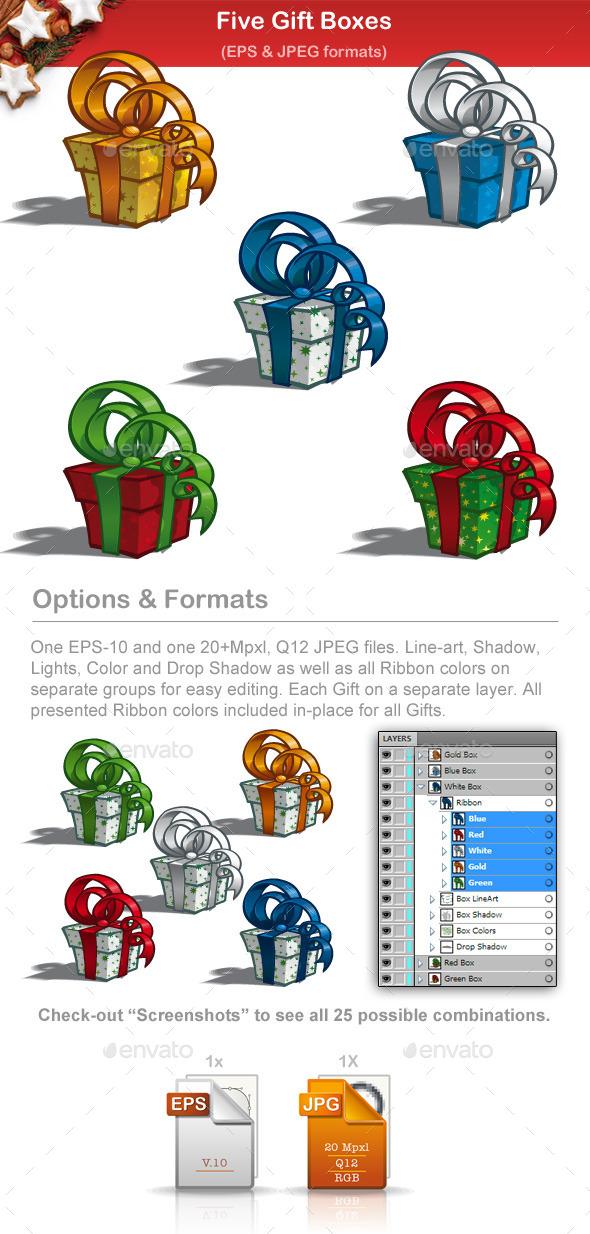 Five Gift Boxes - Christmas Seasons/Holidays
